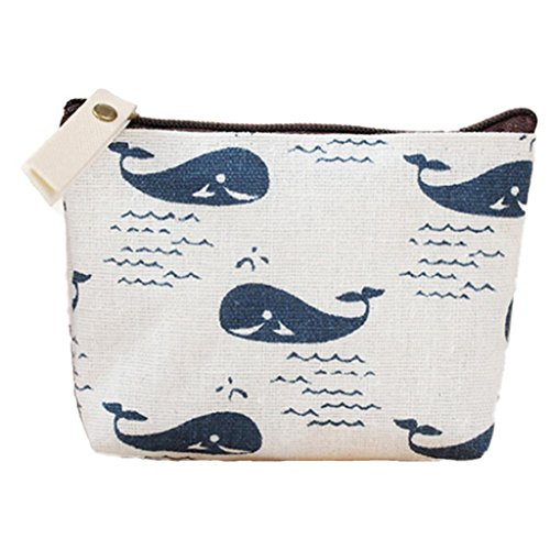 Polytree Printed Canvas Change Coin Purse Holder Zip Mini Wallet - 5