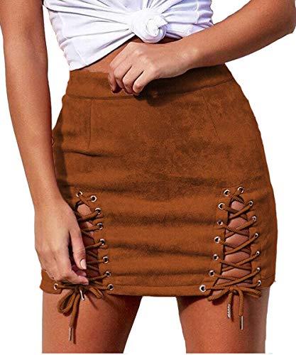 Aliwendy Women Sexy Criss Cross Tight Bodycon High Waist Faux Suede Stretch Mini Skirt(Brown Medium)