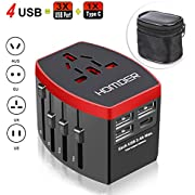 Homder Travel Adapter, International Power Adapter, All in One Worldwide AC Outlet Plug Adapter for US UK Europe AUS More Than 150 Countries, 1 AC Outlet + 1 Type C Port + 3 USB Ports