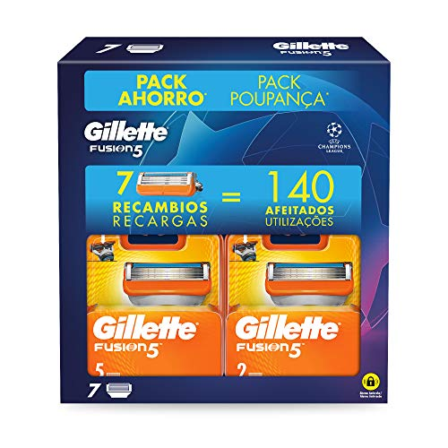 Gillette Fusion5 Cuchillas de Afeitar Pack Ahorro Champions League, Paquete de 7 Cuchillas de Recambio
