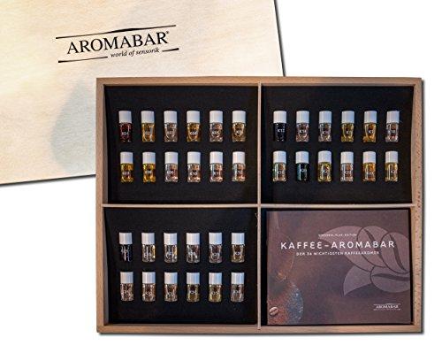 Kaffee Aromabar - die 36 wichtigsten Kaffeearomen in einer hochwertigen Holzbox inkl. Booklet