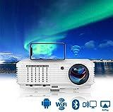 LED WiFi Proyector con Bluetooth, Soporte HD 1080P LCD Video Proyector Smart Airplay compatible con Smartphone, Computer, Laptop, PC, PS4, Roku Stick, TV Box, HDMI, USB, VGA para Juegos Cine en Casa