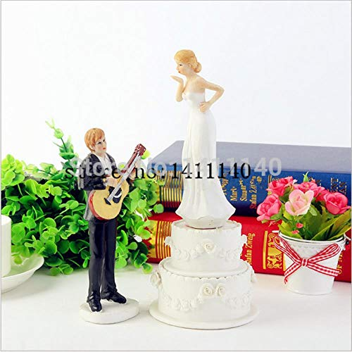 Soode Muziek Gitaar Paar Bruiloft Cake Toppers Figurines voor bruiloft decoraties met Primero de la torta
