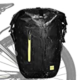 Rhinowalk Alforja para bicicleta de 25 l, impermeable, bolsa para portaequipajes, bolsillos laterales, bolsa para rueda trasera, color verde