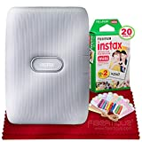 Fujifilm Instax Mini Link Smartphone Printer (Ash White) Instax Mini Twin Film (20 Exposures), Colorful Film Frames with Hanging Clips & Fibertique Microfiber Cleaning Cloth