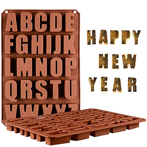 Wocuz 26 Cavities A-Z large letters reverse Alphabet Chocolate Silicone Cake Baking Mold Cake Pan Muffin Cups Handmade Soap Moulds Biscuit Ice Cube Tray DIY crayon Drops Mold for New Year