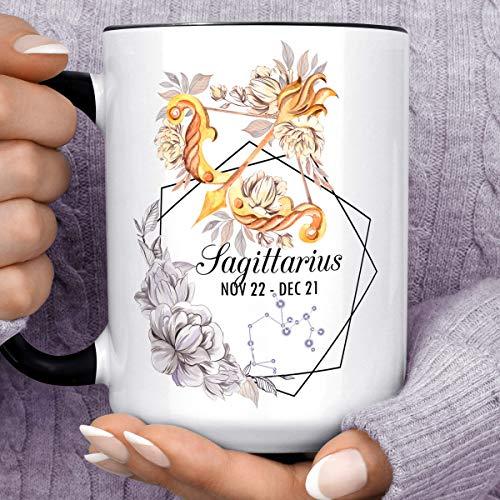 Sagittarius Zodiac Sign Mug   Watercolor Bow and Arrow Constellation Horoscope Ceramic Cup   November December Birthday Gift