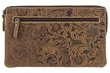 Bolsa de depósito bancario Vintage-Style patrón de Flores LEAS, Piel auténtica, coñac Oscuro/Dark Cognac - Special-Edition