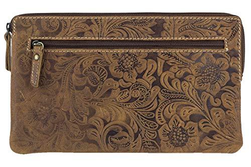 Banktas & portemonnee met bloemenprint LEAS in echt leer, drak Cognac - Special Edition