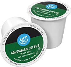 100 Colombian coffee k cup pods, packaging may vary Happy Belly coffee pods are filled with coffee carefully sourced from select farms worldwide so each cup tastes uniquely delicious. Settle in with the warming aroma and smooth flavors of delicious c...