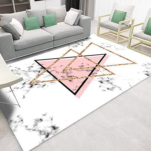 YQZS Moderner Design Kurzflor Teppich Loop Pile Carpet Rosa Dreieck Pflegeleichter und schmutzabweisender maschinenwaschbarer Teppich,100X200cm(39X79inch)