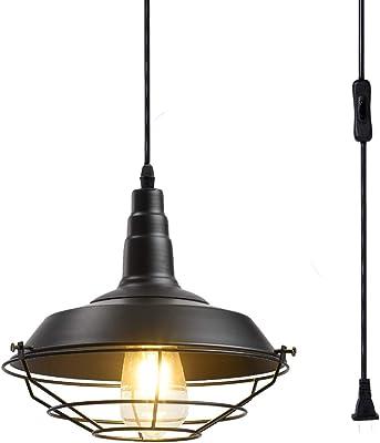 Nautical Metal Cage Hanging Pendant Light Plug-In Rust Finish Swag Ceiling Light