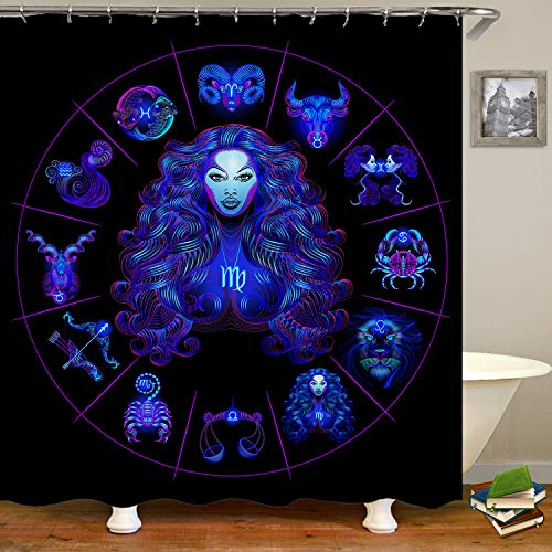 SARA NELL Virgo Neon Horoscope Circle with Signs of Zodiac Set Shower Curtain,Waterproof Polyester Fabric,Extra Long Bath Curtains Bathroom Decorations,72X72 Inches with 12 Hooks