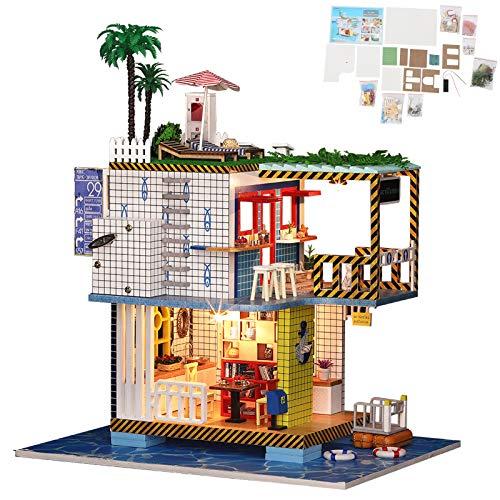 Casa de campo hecha a mano, casa de campo hecha a mano modelo de casa pequeña hecha a mano regalo de Navidad, casa de muñecas de regalo DIY para adultos y niños(Estándar de cabina K-038)
