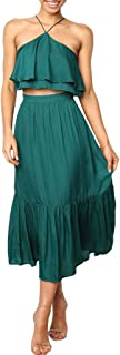 2Pcs Set,Women Summer Halter Strap Backless Ruffle Tank Tops Shirt Loose A-Line Long Skirt Party Club Solid Suit