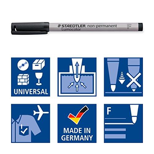 Staedtler Lumograph Non-Permanent Wet Erase Marker Pens, Fine Tip Refillable Colored Marker, Black, 315-9 Photo #6