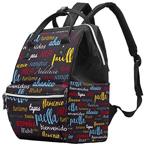 Grand sac à langer multifonction pour bébé Motif Hello Words Sac à langer Sac à dos de voyage pour maman et papa