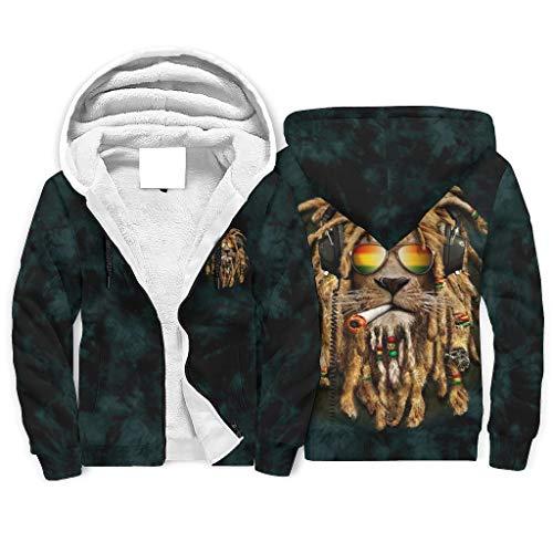 IOVEQG Ras-ta Lion Neuheit Fleece-Jacke mit durchgehendem Reißverschluss und klassischer Passform für Damen und Herren Gr. XXX-Large, weiß