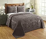 Better Trends Trevor Collection in Geometric Design 100% Cotton Tufted Chenille, King Bedspread Set, Cocoa