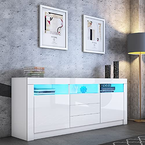 UNDRANDED Sideboard High Gloss Sideboard Cabinet Storage Cupboard with LED Lights 2 Doors 3 Drawers Modern Living Room Furniture (White)