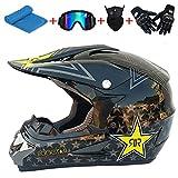 AKBOY Casco de Moto Todoterreno para Niños Casco de Bicicleta Jóvenes Brillante Negro Estrellas...
