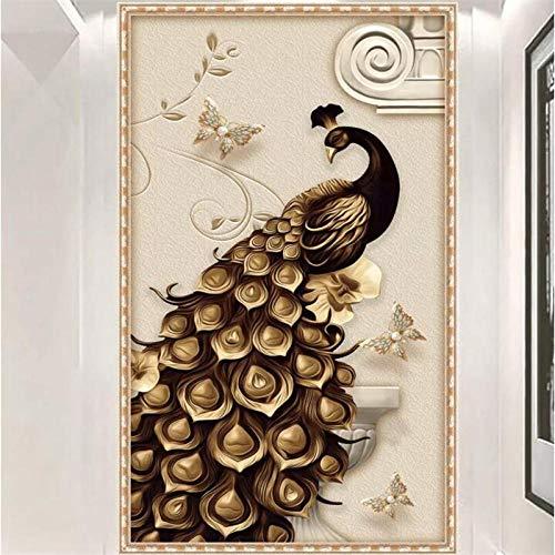 LYBSSG Papel tapiz personalizado 3D estéreo mural relieve pavo real dorado fondo papeles de pared decoración del hogar mural porche-400x280cm