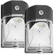 CINOTON LED Wall Pack Light, 26W 3000lm 5000K (Dusk-to-Dawn Photocell,Waterproof IP65), 100-277Vac,150-250W MH/HPS Replacement, ETL DLC Listed Outdoor Security Lighting (2pack)