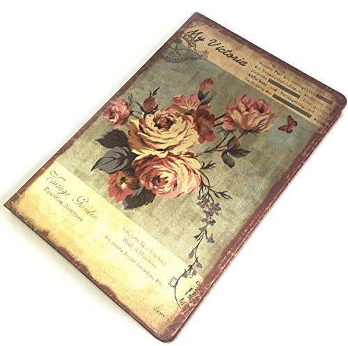 [フェアリーテール]アンティークノート 日記帳 フラワー イラスト しおり付き 花柄 布表紙 選べる デザイン (リリー) (ピンク)