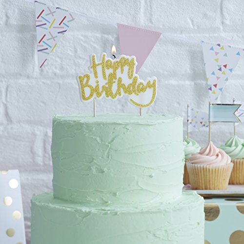 Ginger Ray Gold Happy Birthday Candle Decorative Cake Topper Pick & Mix, Wax
