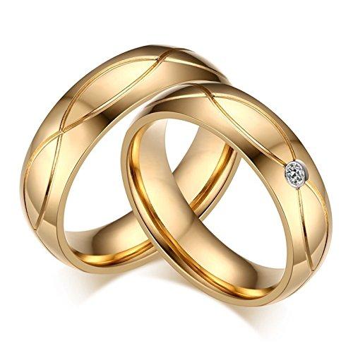 KnSam - Anillos de Bodas de Acero Inoxidable Dorado para Pareja, Pendientes de Cristal Colgante de circonita cúbica Mujer 15 & Hombre 30