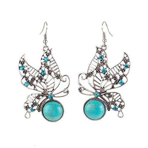 Magnífico somier pendientes par plateado envejecido colour y formas con turquesa piedras gemas mariposas empalmes de VAGA