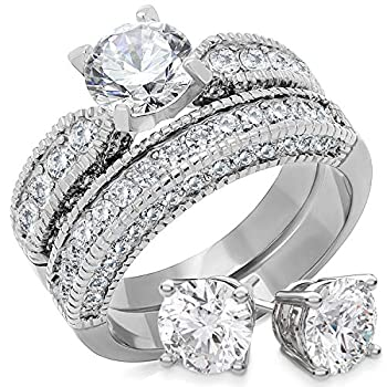 Bellux Style Women's Wedding Engagement Rings Stainless Steel CZ Anniversary Promise Ring Band Bridal Set for Her Sterling Silver Earrings  Size 9