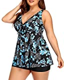 Yonique Blue Plus Size Tankini Swimsuits for Women Flowy Paisley Bathing Suits with Shorts 2 Piece V Neck Swimwear 20plus