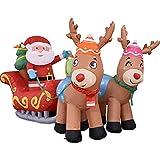 sdfsa Trineo Inflable De Papá Noel Inflable De Papá Noel con Luz LED Decoración Inflable De Navidad Modelo Inflable De Papá Noel Iluminado Decoración De Jardín De Papá Noel Accesorios De Decoración