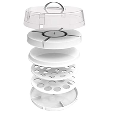 Crazy Chef Stackable Portable Food Carrier for Cakes, Cupcakes, Deviled Eggs, Vegetables and Dip - 4-in-1 Party Platter, Appetizer Platter. Space Saving, Easy to Carry Plastic Storage with Lid