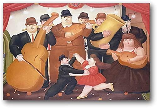 """Iooie Lienzo Y Arte De Pared PóSter Los Bailarines Fernando Botero Cuadro Moderno para decoración de Oficina Pintura Pared Y Estampados Cuadros 19.7""""x27.6""""(50x70cm) Sin Marco"""