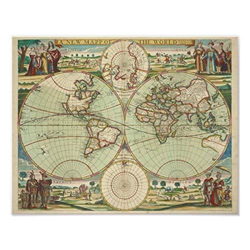 CiCiDi Póster de Atlas con un mapa nuevo del mundo para decoración del hogar, sin marco, 40,6 x 60,9 cm