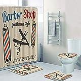 AIDEMEI Hipster Barber Shop Poster Duschvorhang Set