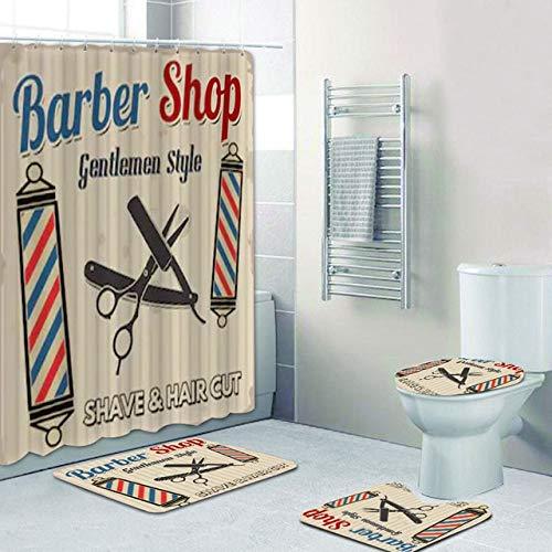AIDEMEI Hipster Barber Shop Poster Shower Curtain Set Hair Cut and Shave Barbershop Bath Curtains Bathroom Gentlemen Beauty Salon Decor 70X70 Inch