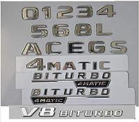 車のバッジエンブレムはメルセデスベンツに使用されていますa b c e g gle cls claクラスAMG 4matic 2017 2018 2018 2019 2019 2020 Chromeトランク文字数バッジエンブレムカラー:1ペアBiturbo 4matic Car