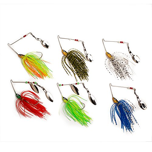 iBait 6pcs Spinnerbaits Fishing Hard Spinner Baits Lures with Soft Plastic Skirts for Pike Bass Trout