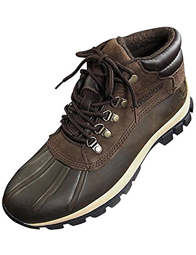 KINGSHOW Men Warm Waterproof Winter Snow Leather Boots Size:9 Color:Brown