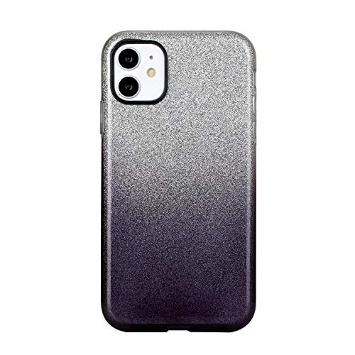 """Nadoli für iPhone 11 6.1"""" Gradient Glitzer Hülle,3 Schicht Glänzende Stoßfest Silikon Stoßdämpfung Transparent Hart Hybride Dünn Glitzer Schutzhülle Handyhülle"""