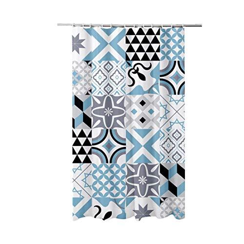 ADOB Textil Duschvorhang Motive Kacheln, 180 x 200 cm, waschbar, mit Gewichtsband und 12 Duschvorhangringen, 91088