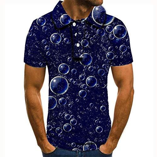 DRTWE Polo 3D para Hombre,3D Impresión Azul Burbuja Impreso Manga Corta hasta Collar Camisa Polo para Los Hombres Transpirable Fresco Rápido Sudor Al Aire Libre Camisetas Deportivas Regalo para