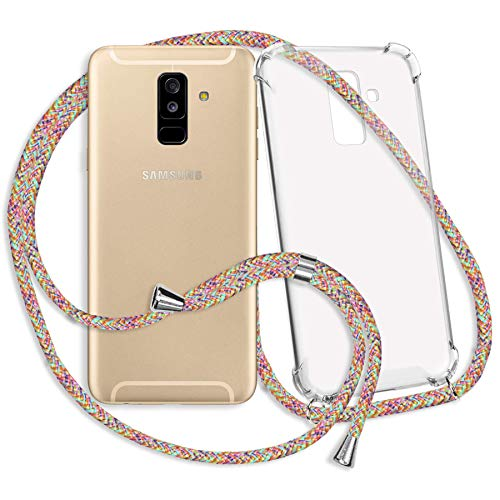 mtb more energy® Collar Smartphone para Samsung Galaxy A6 Plus, A6+ (SM-A605, 6.0'') / J8 2018 (SM-J810, 6.0'') - Rainbow - Funda Protectora ponible - Carcasa Anti Shock con Cuerda