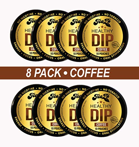 TeaZA Herbal Dip Coffee Pouches -Nicotine Free, Tobacco Free - Made with Green Tea Caffeine Energy Pouches [8 Pack]