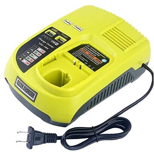 nJiaMe 12V-18V Recargable Universal Cargador de batería para Ryobi P100 P102 P108 P117 P118 con Puertos USB de Carga rápida Duradero