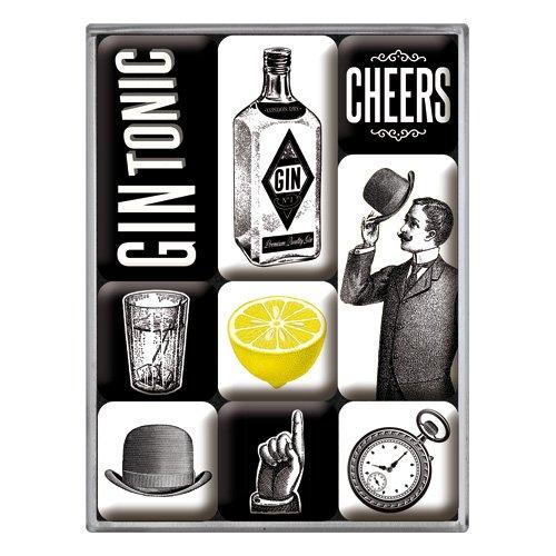 Nostalgic-Art 83105 Gin Tonic | Retro Set (9teilig) | Kühlschrank-Magnete | Vintage Open Bar Geschenk-Idee für Cocktail-Fans, Magnetset für Magnettafel, 9 Stück