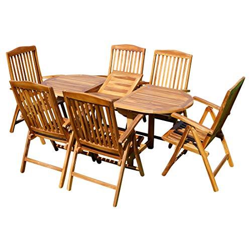 ASS Gartengarnitur mit Ausziehtisch 180cm und 4/6/oder 8 Hochlehner Sessel klappbar aus Teak Eukayptus Holz von Farbe:Teak Ausziehtisch 140-180x80+6Hochlehner